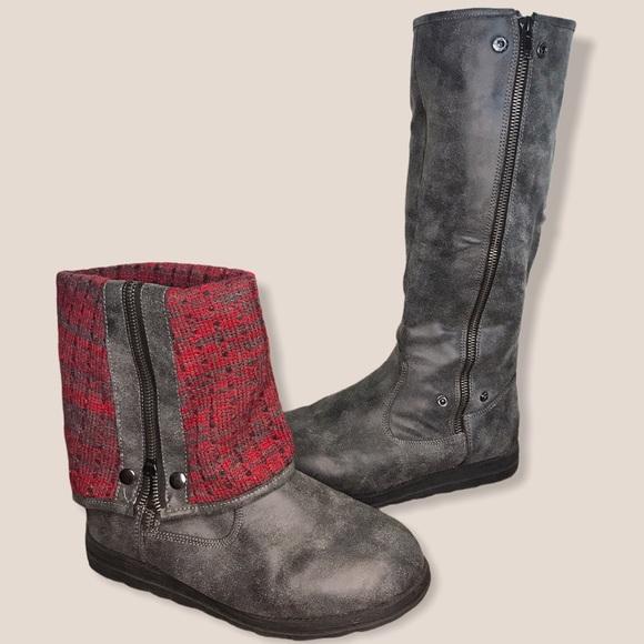 Muk Luks Gray & Red Cuffed Tall Boots Size 9